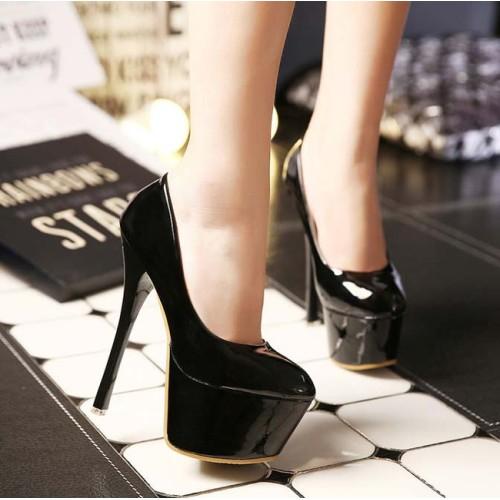 93553369d5e95 حذاء أسود بكعب عالي رفيع ومقدمة دائرية بتصميم عالي الجودة